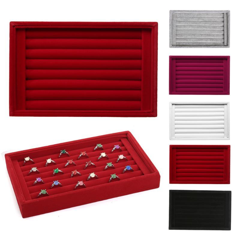 Elegant Jewelry Display Velvet Earrings Ring Organizer Ear Studs Jewelry Display Stand Holder Rack Showcase 5 Colors Case