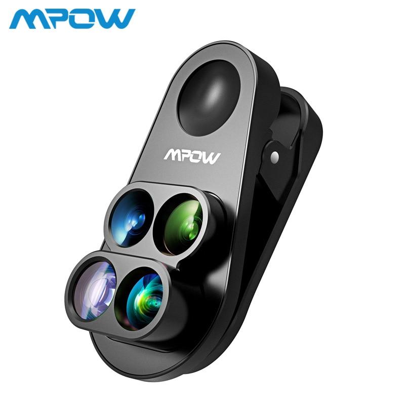 Mpow 4 en 1 Kit de lentes duales para cámara 0.65X gran angular ojo de pez 10X lente Macro 1.5X teleobjetivo para iPhone 8 7 6 6 s/plus