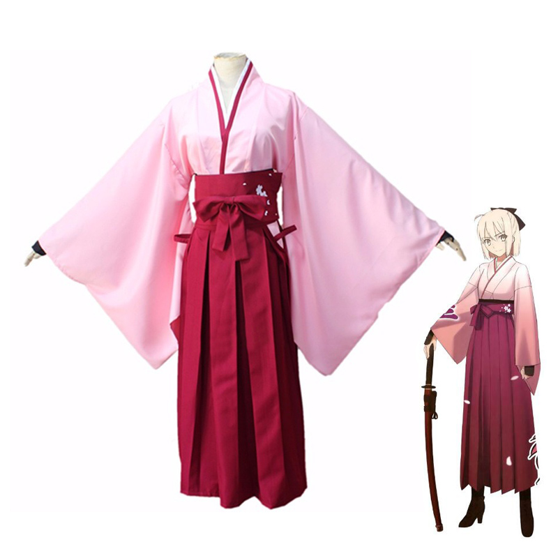 Anime FGO Fate Grand Order Sakura Saber Okita Souji Kendo Uniform Cosplay Costume Full Set Kimono Halloween Performance Costumes