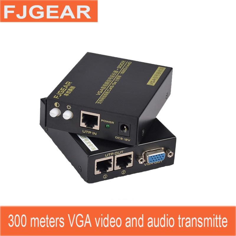 VGA extender 300meter snetwork HD video Audio and video synchroniza RJ45 network extender By CAT5e/6 transmission utp vga audio video extender black