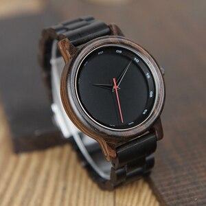 Image 3 - BOBO BIRD V P10 ساعات الرجال الطبيعية الأسود خشبية الأبنوس كوارتز موضة ساعة اليد مع الأحمر من جهة ثانية