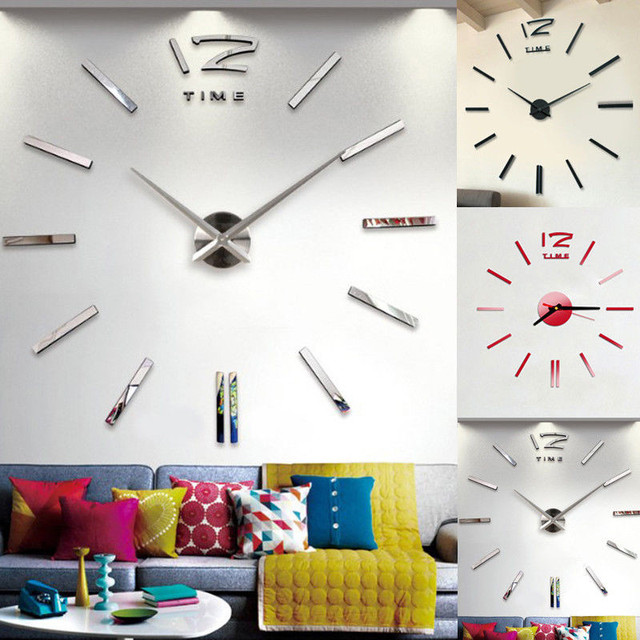 Us 1 88 25 Off Modern Large 3d Wall Mirror Decorative Mirrors Surface Wall Clock Sticker Home Office Room Diy Mirror Decor In Decorative Mirrors