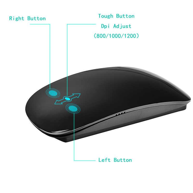 Nirkabel USB Ergonomis Slim Mouse Sentuh Roda Sihir Tikus 2.4G 800/1000/1200 Dpi Optical Mini Mause untuk Laptop Desktop PC