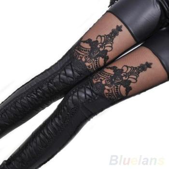Fashion Women Lace-up Faux PU Leather Lace Leggings Pants  007S