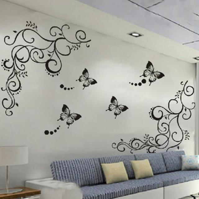 Butterfly flowers wall art living room diy removable wall sticker bedroom wall  decals home decoration plant