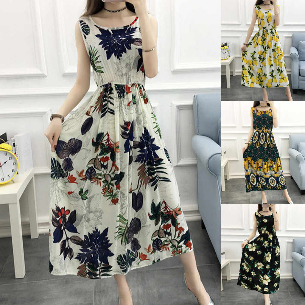 Floral Print Ladies Summer Dress O-Neck Sleeveless Boho Vacation Casual Beach Streetwear Pure and fresh Long Dress Sundress 2019