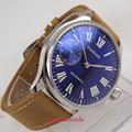 44 мм parnis синий циферблат 6497 ремень из коровьей кожи ручной обмотки Механические Мужские наручные часы