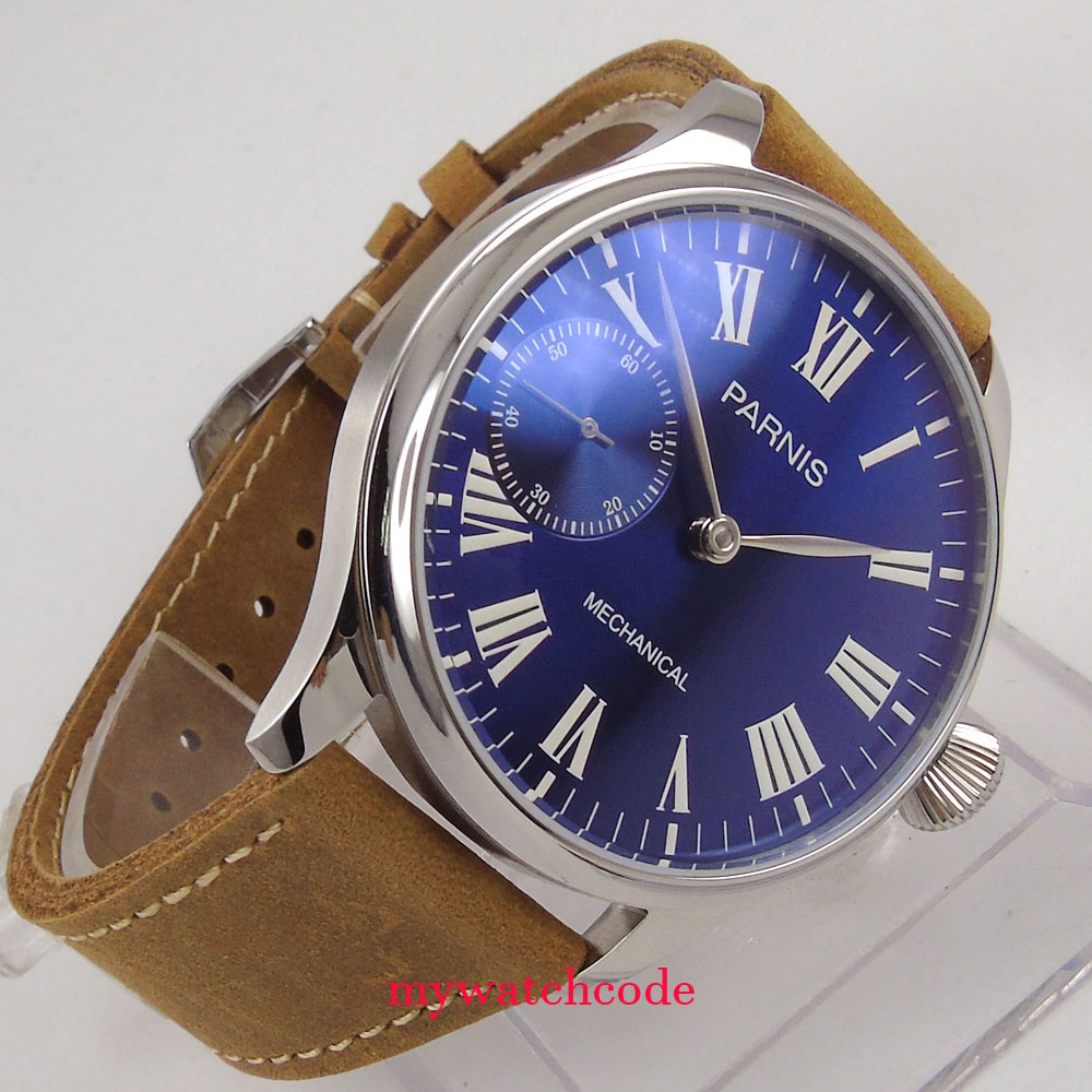Купить 44mm parnis blue dial 6497 cow leather strap hand winding mechanical mens watch в интернет-магазине дешево