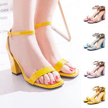 Women summer sandals Peep Toe Shoes Ankle-Wrap Buckle Strap Sandal Bandage Square Heel Footwear Lady Holiday Party Pumps