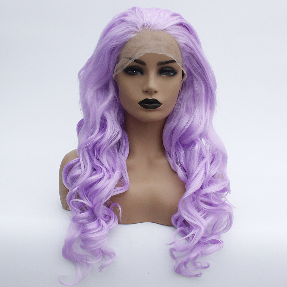 Violet Long Loose Wavy Lace Front Wig Synthetic Hair Light Purple Glueless Body Wave Wig For Women Lavender Heat Resistant Fiber