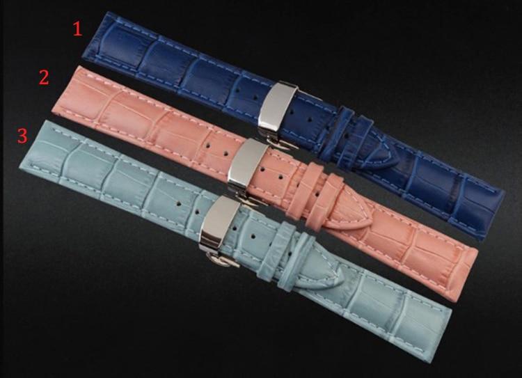 watchband Strap Bracelet Dark Blue sky blue pink Genuine Leather for women WatchBand 12mm 14mm 16mm 18mm Silver Deployment Clasp blue sky чаша северный олень