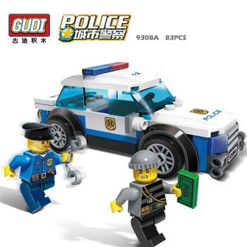 9308A GUDI City Series 83Pcs Police Cared Man Cops Vehicle Diy Educational Bricks Building Block Kids Toy Compatible With Legoe 2