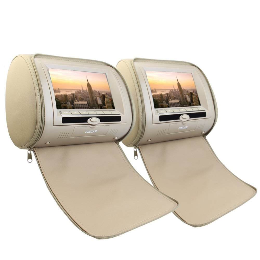 Eincar Pair of Headrest 7 Car Pillow Monitors Region Free DVD player Dual Twin Screens USB SD IR FM Transmitter 32 Bit Games