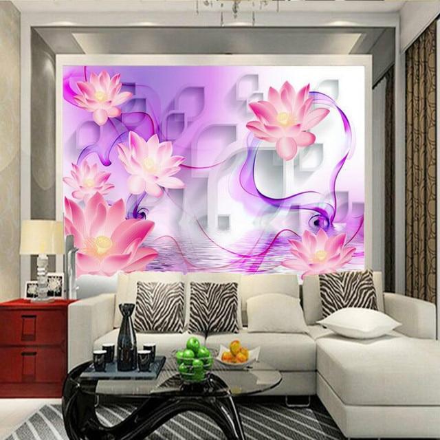 Lotus decorative painting 3D Mural Wallpaper for TV Backdrop Living ...
