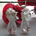 Keshi Pearl & Crystal Aretes-925 Hook