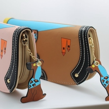 Women's Leather Dog Cartoon Purse