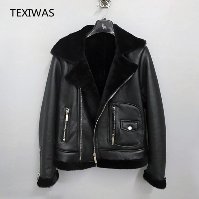 27eb303f6 US $277.77 42% OFF|TEXIWAS Genuine Leather Jacket women Winter Warm Thicken  Shearling One Fur coat 100% real Leather female bomber Jacket outerwear-in  ...