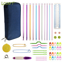 11 Pcs Aluminum Tunisian Crochet Hooks Set Mix 2mm-8mm Afghan Scissors Needles Sewing Accessories With Blue Case For Mom
