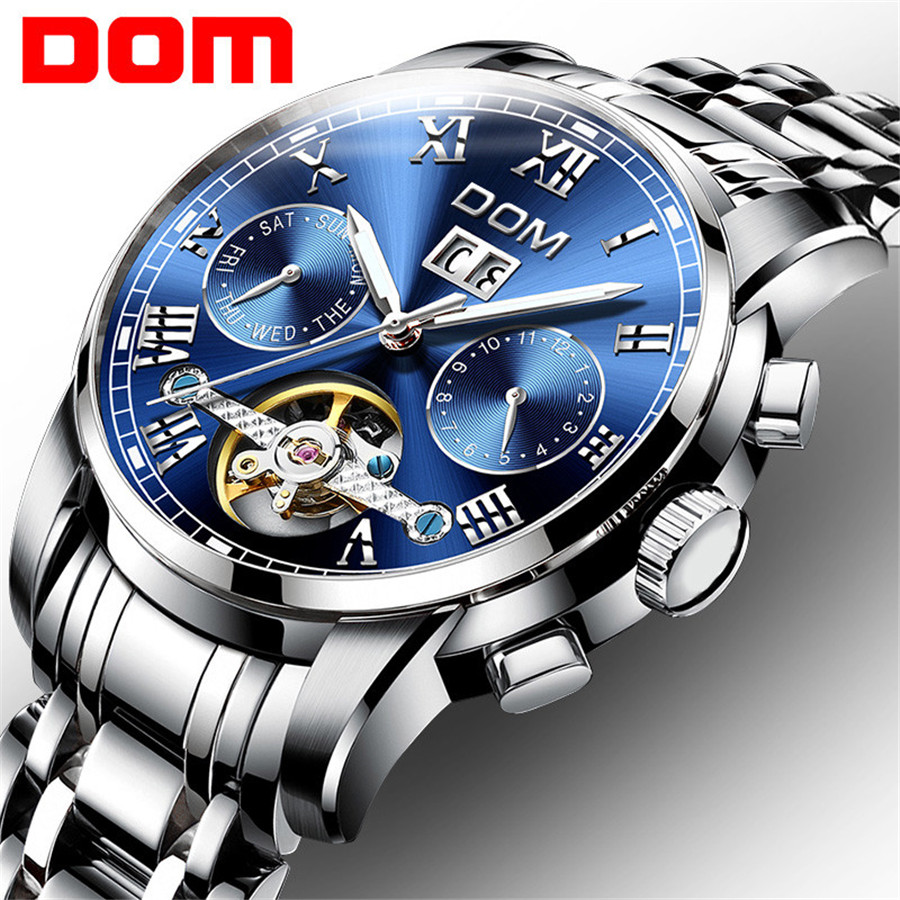 DOM Top Brand Luxury Men's Sports Watches Men Waterproof mechanical Watch Man Full Steel Military Automatic Wrist watch Relojes men watches lige top brand luxury men s sports waterproof mechanical watch man full steel military automatic wrist watch relojes