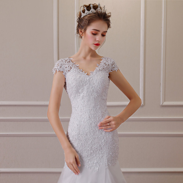 2019 New Illusion Vestido De Noiva White Backless Lace Mermaid Wedding Dress Cap Sleeve Wedding Gown Bride Dress 4