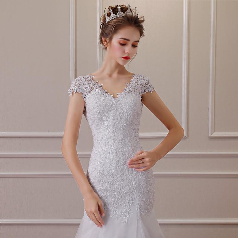 2019 nouvelle Illusion Vestido De Noiva blanc dos nu dentelle sirène robe De mariée Cap manches robe De mariée robe - 4