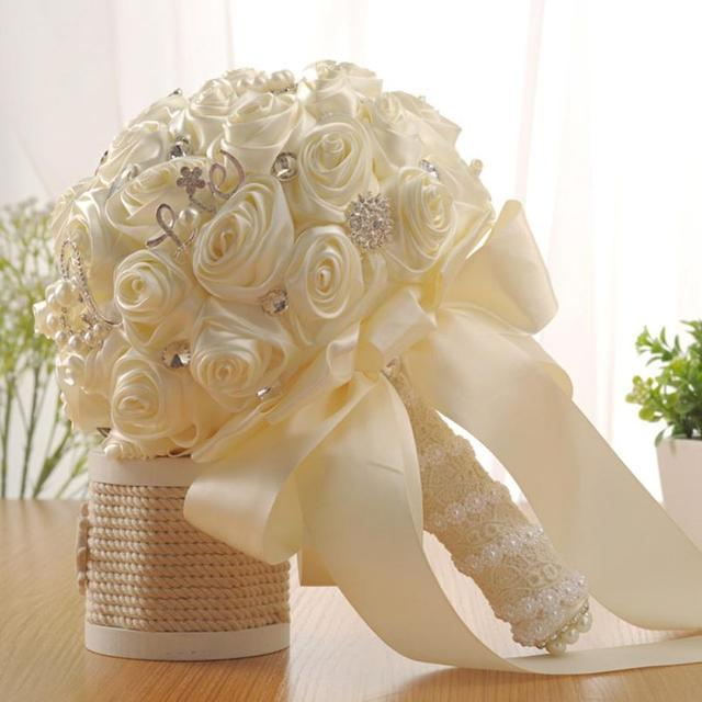 Wedding Bouquet Crystal Gold White Roses Bridesmaid Wedding
