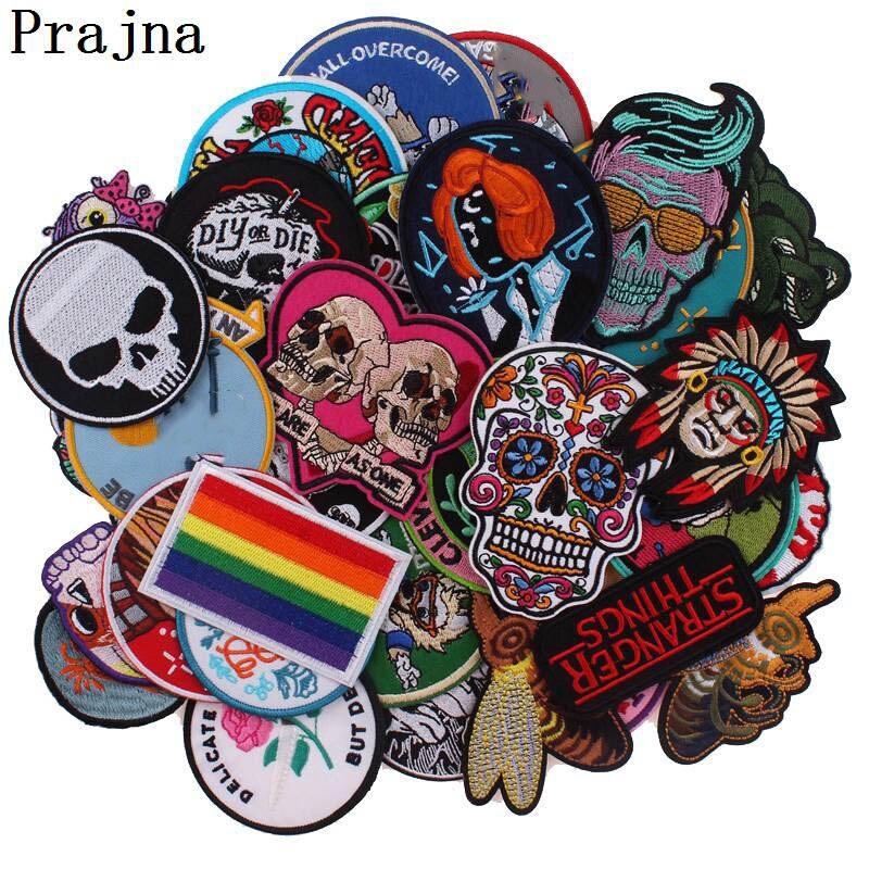 Prajna-Patch brodé Rock Punk, crâne de vélo, motifs danimaux, couture sur vêtements, bon marché, mélange aléatoire