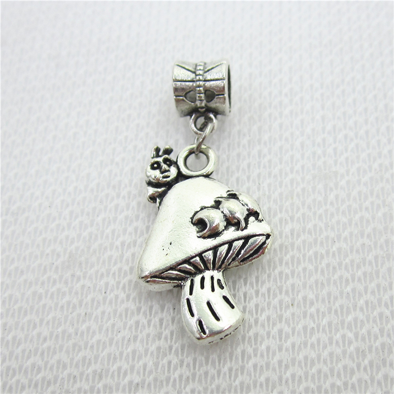 20pcs/lot Mushroom Charms Big Hole European Beads dangle charms diy fashion bracelets jewelry accessory
