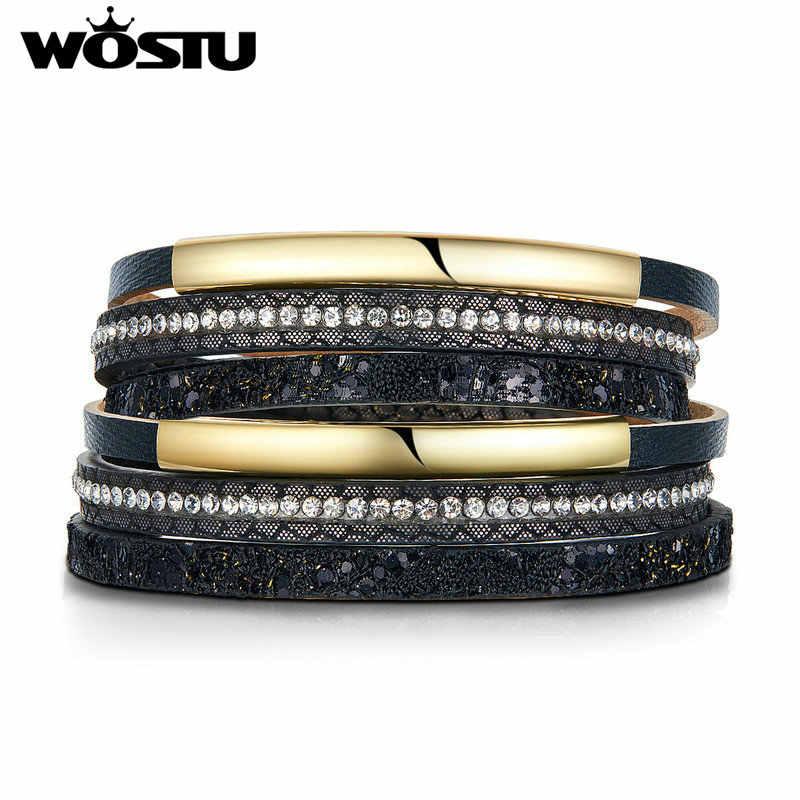 WOSTU skórzany wielowarstwowy bransoletki z zapięciem magnetycznym Metal Bar urok pleciony szeroka bransoletka dla kobiet mężczyzn biżuteria FC0361