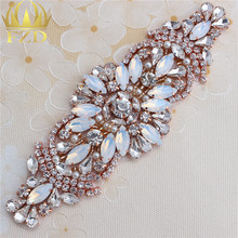Handmade Hot Fix Rose Gold Rhinestones  Applique Iron Sew On Bling Applique for Headpieces Dresses Garters