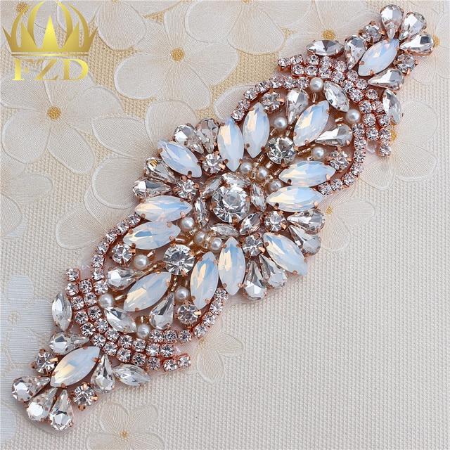 Handmade Hot Fix Rose Gold Rhinestones Applique Iron Sew On Bling Applique  for Headpieces Dresses Garters 1049d0da044a