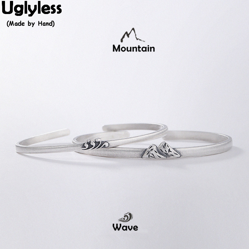 Uglyless Real 925 Sterling Silver Lovers 1 Pair Bangles Handmade Mountain Wave Open Thin Bangle Couples Thai Silver BraceletsUglyless Real 925 Sterling Silver Lovers 1 Pair Bangles Handmade Mountain Wave Open Thin Bangle Couples Thai Silver Bracelets