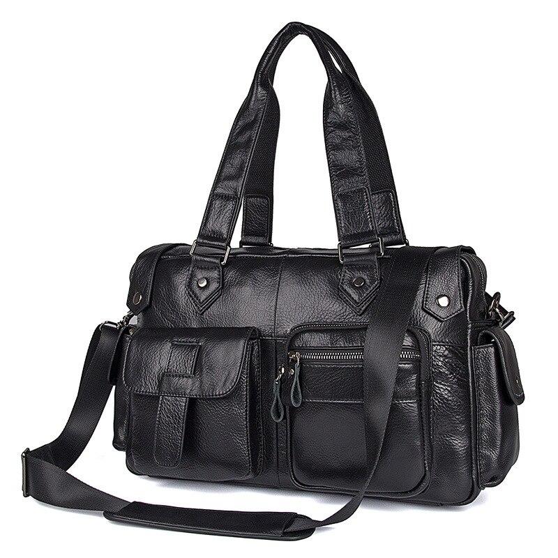 Nesitu New High Quality Black Real Skin Genuine Leather Men Travel Bags Handbag Male Messenger Bags Shoulder Bag M7384