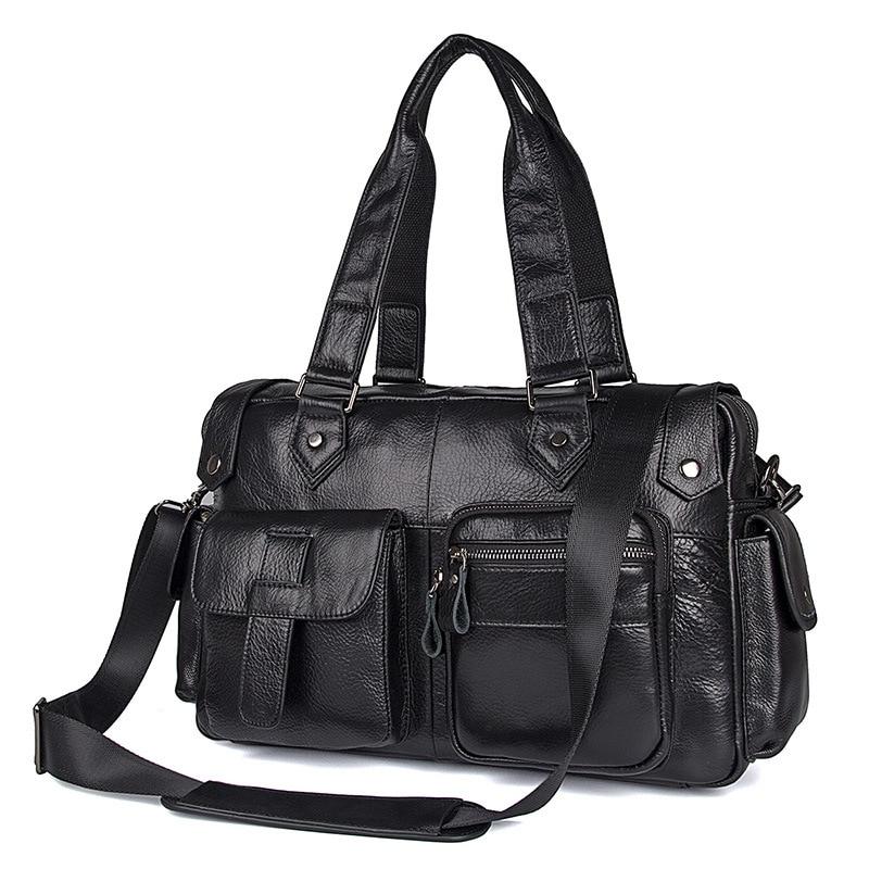 Nesitu nuevo bolso de mano de cuero auténtico negro de alta calidad para hombre, bolso de viaje, bandolera para hombre, bolso de hombro M7384-in Bolsas de viaje from Maletas y bolsas    1