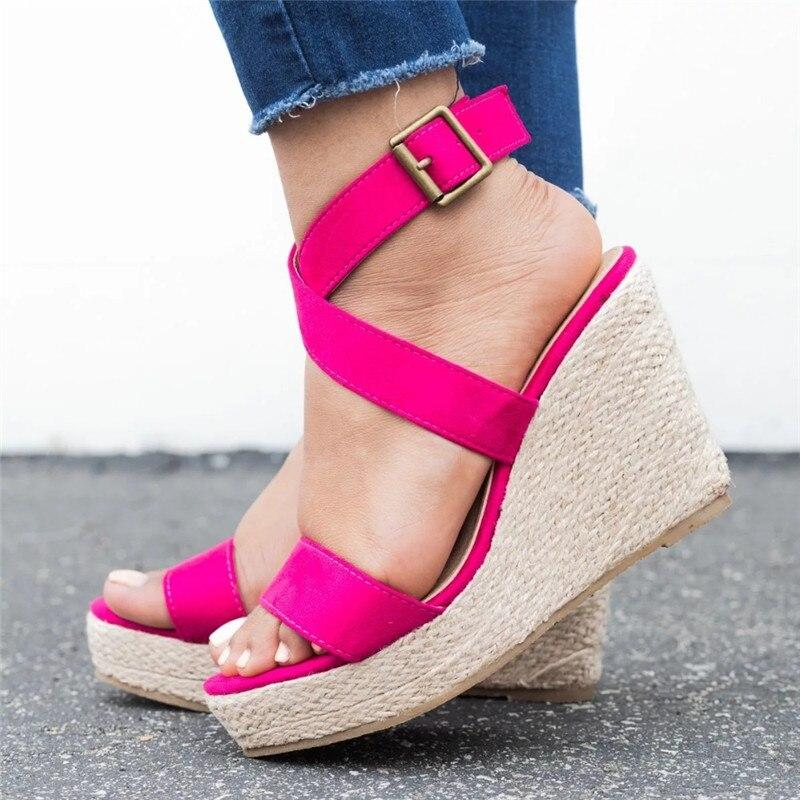 Leopard Wedge Sandals Summer Peep Toe Flock Buckle Strap Women Platform Espadrilles Sandal Plus Size 43 High Heels Shoes Female  (2)