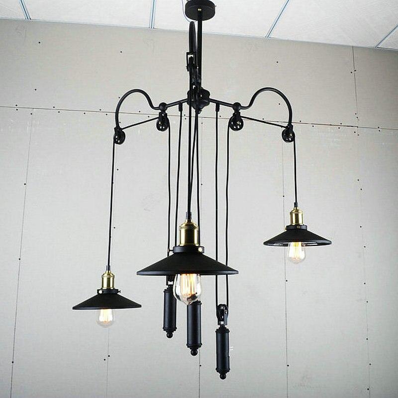Unique Design Retro Loft Industrial Pulley Pendant Lamp Dinning Room