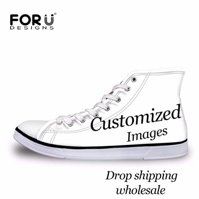 FORUDESIGNS Custom Images or Logo Women High Top Canvas Shoes Classic  Lace-up Vulcanized Shoes 0edbe9793