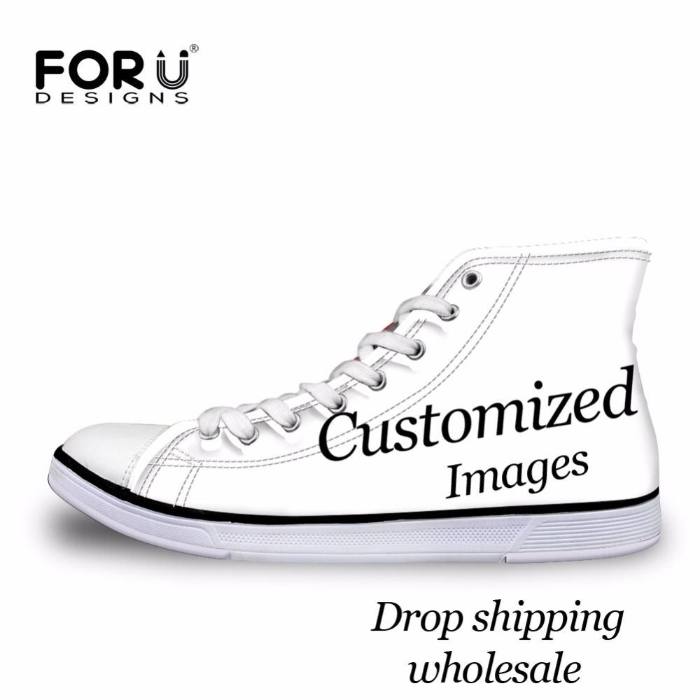 FORUDESIGNS Custom Images or Logo Women High Top Canvas Shoes Classic Lace up Vulcanized Shoes Students Girls Flat Shoes Sneaker