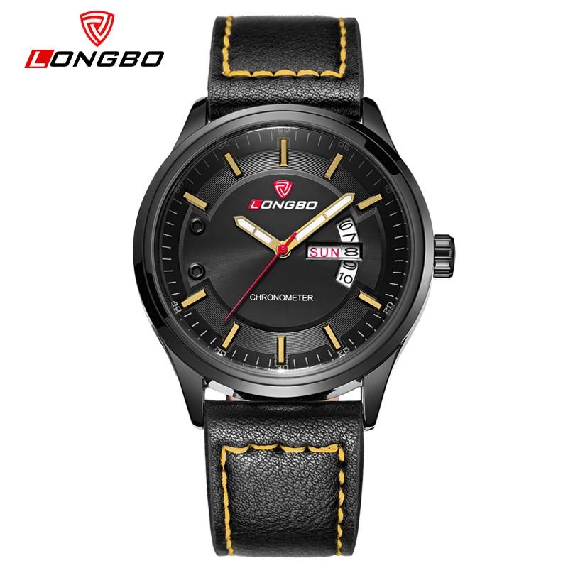 LONGBO simple style men watches Sports Quartz Watch Men Luxury Brand leather strap army Military wrist