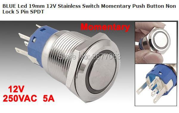 Синий светодиодный переключатель из нержавеющей стали 19 мм 12 В, мгновенная кнопка 5 Pin SPDT