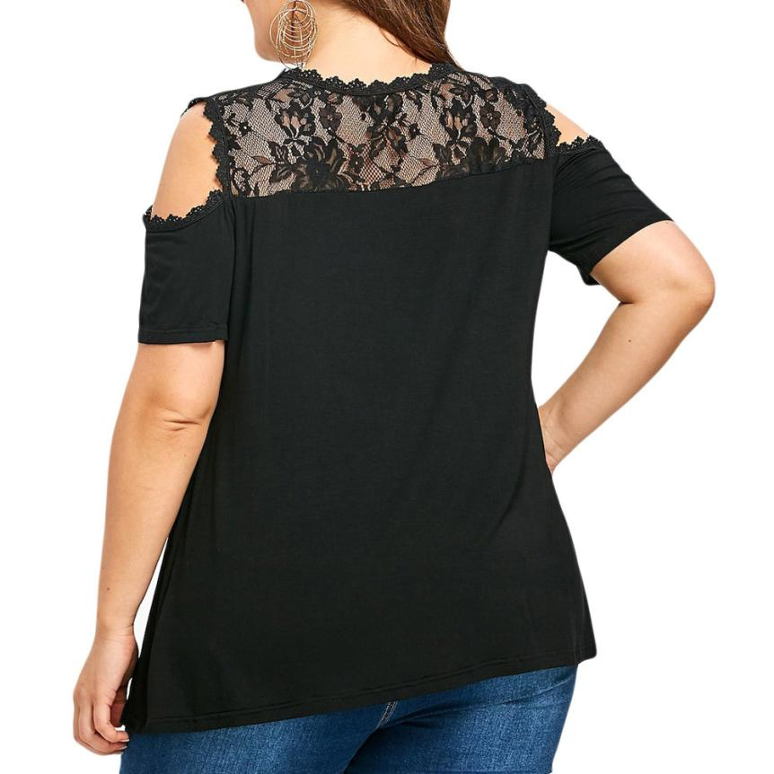 1dff7291a63811 Women Blouses Summer Top Lace Black Cold Off Shoulder Tops Female Clothing  5XL Plus Size Ladies Tops -in Blouses & Shirts from Women's Clothing on ...