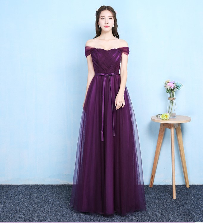 Grape Purple Off The Shoulder Sleeveless Bridesmaid Dress Women Wedding Dress Party  Long Floor Length Back Of Bandage Vestidos