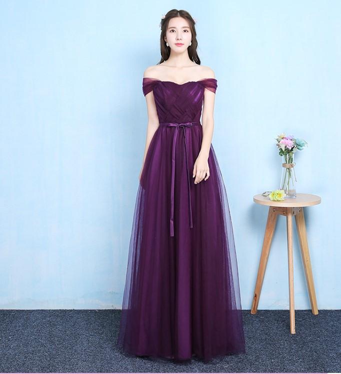 Grape Purple Off The Shoulder Sleeveless Bridesmaid Dress Women Wedding Dress Party  Long Floor Length Back of Bandage VestidosBridesmaid Dresses   -