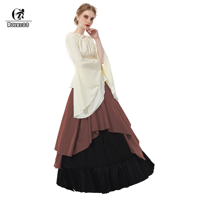 740b21175d2 ROLECOS Renaissance Medieval Dresses Gothic Women Costumes Halloween Party  Masquerade Costumes Long Dress for Party Weeding