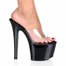 All-Match Comfortable Black 7 Inch Stiletto With Platform Shoes Clear Stripper Shoes Sexy 17CM High-Heeled Dance Shoes