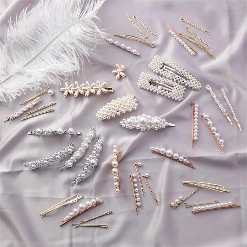 Fashion Full Pearl Flowers Hairpins Geometric Triangle Square Pearl Beaded Barrette Headwear Hair Styling Accessories