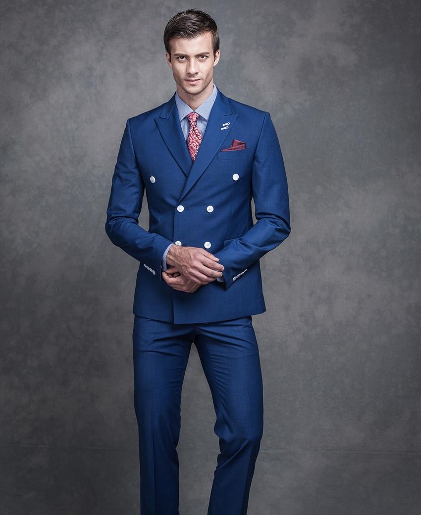 Elegant Royal Blue Men Suits 2018 Handmade Peak Lapel Double Breasted Groomsmen Wedding Business Suits Suits For Men Suit