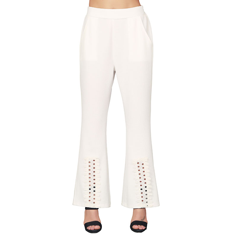 New Fashion Flared Female Loose Long Pant Wide Leg Trousers White casual pants for women
