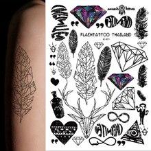 1sheet Hot Multi-style 25models Taty Temporary Tattoo Arm Flower Sticker Unicon Feather Rainbow Diamond Glitter Black Tatuagem