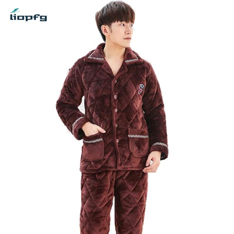 Новинка 2017 года Для мужчин пижамы костюм коралловые бархат стеганые три утолщение тепло фланель Для мужчин; хлопковая куртка большой Разме